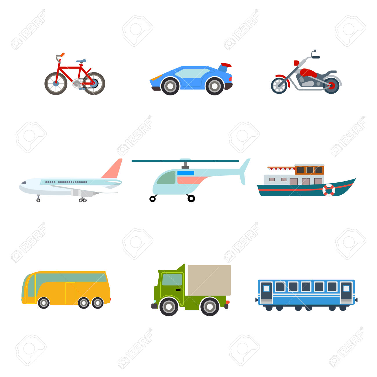 Flat Cartoon Various Transport Icon Set. Road Bicycle Sportscar.