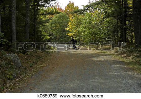 Stock Photograph of Biking on Carriage Road k0689759.