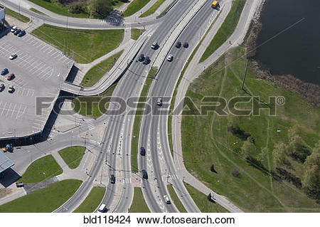 Stock Photo of A view from the air over a major dual carriage road.