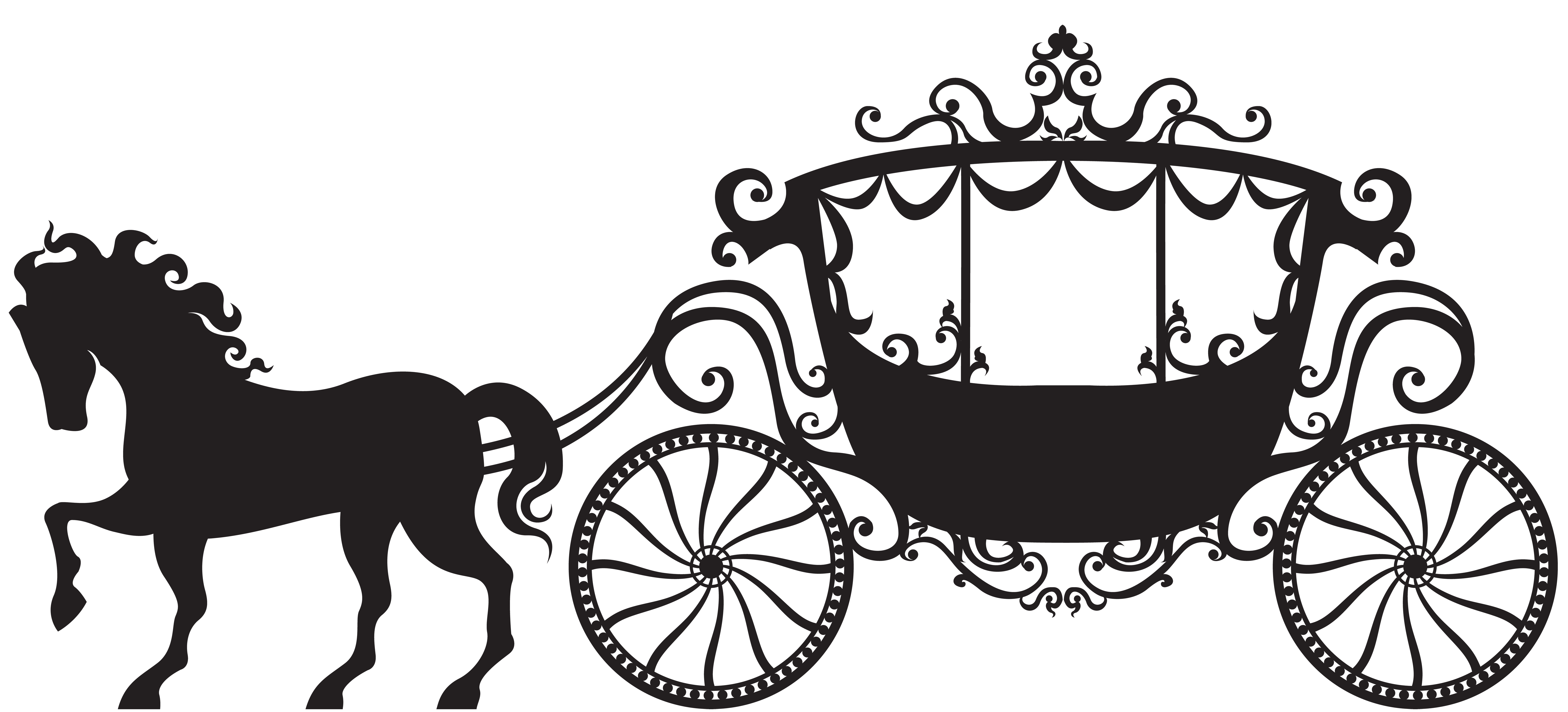 Carriage Silhouette PNG Clip Art Image.