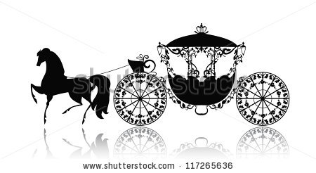 vintage silhouette of a horse carriage.