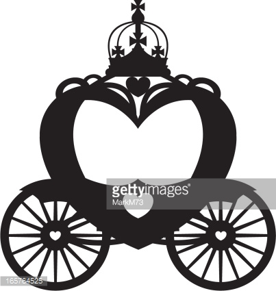 Royal Carriage In Silhouette Vector Art.
