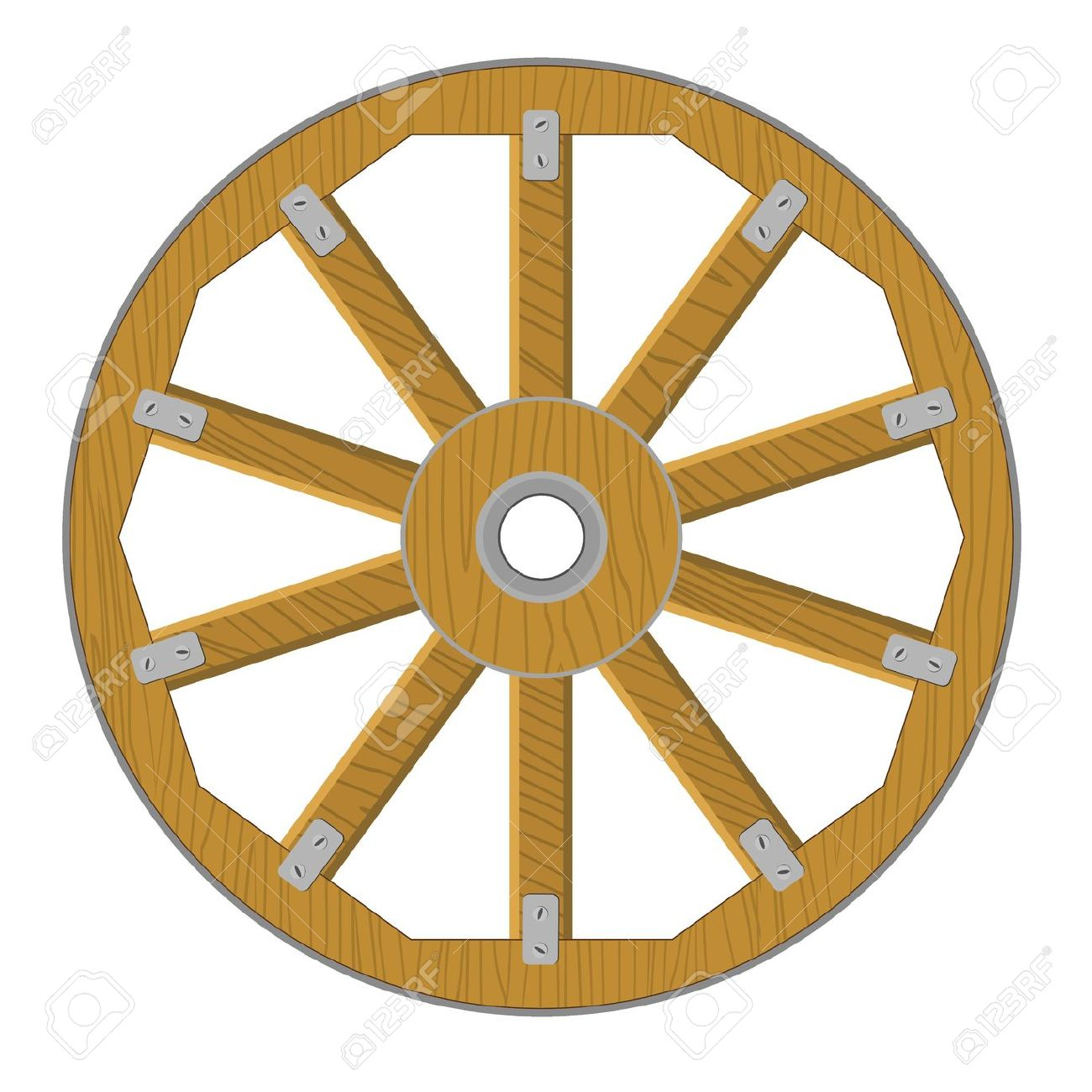 Vector Image Of A Wooden Wheel Royalty Free Cliparts, Vectors, And.
