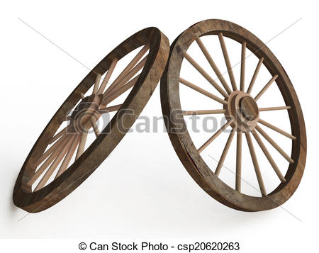 Stock Illustration of 3D Old Wooden Wagon ( Carriage) Wheels on.