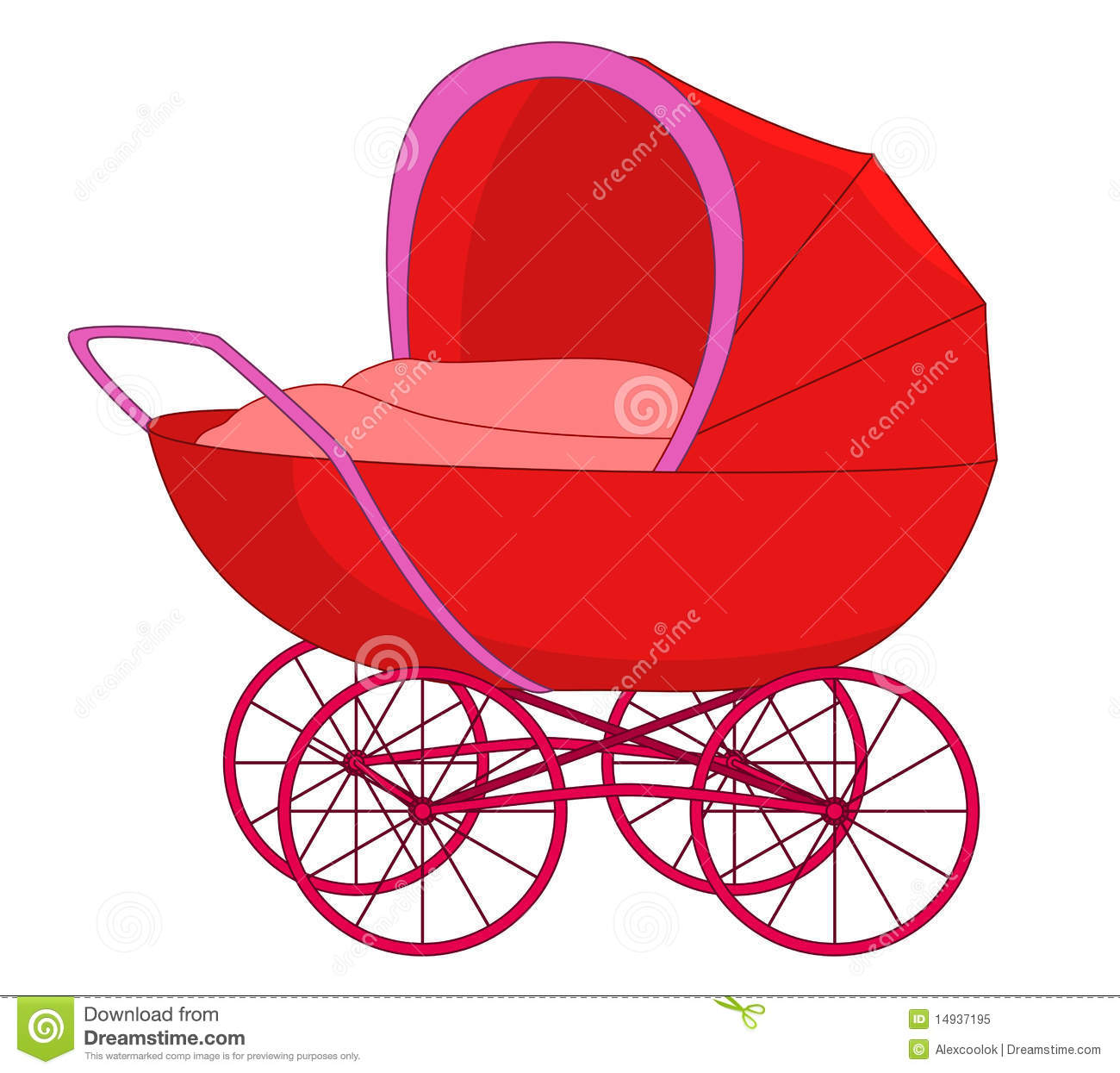 Red Baby Carriage Clipart.