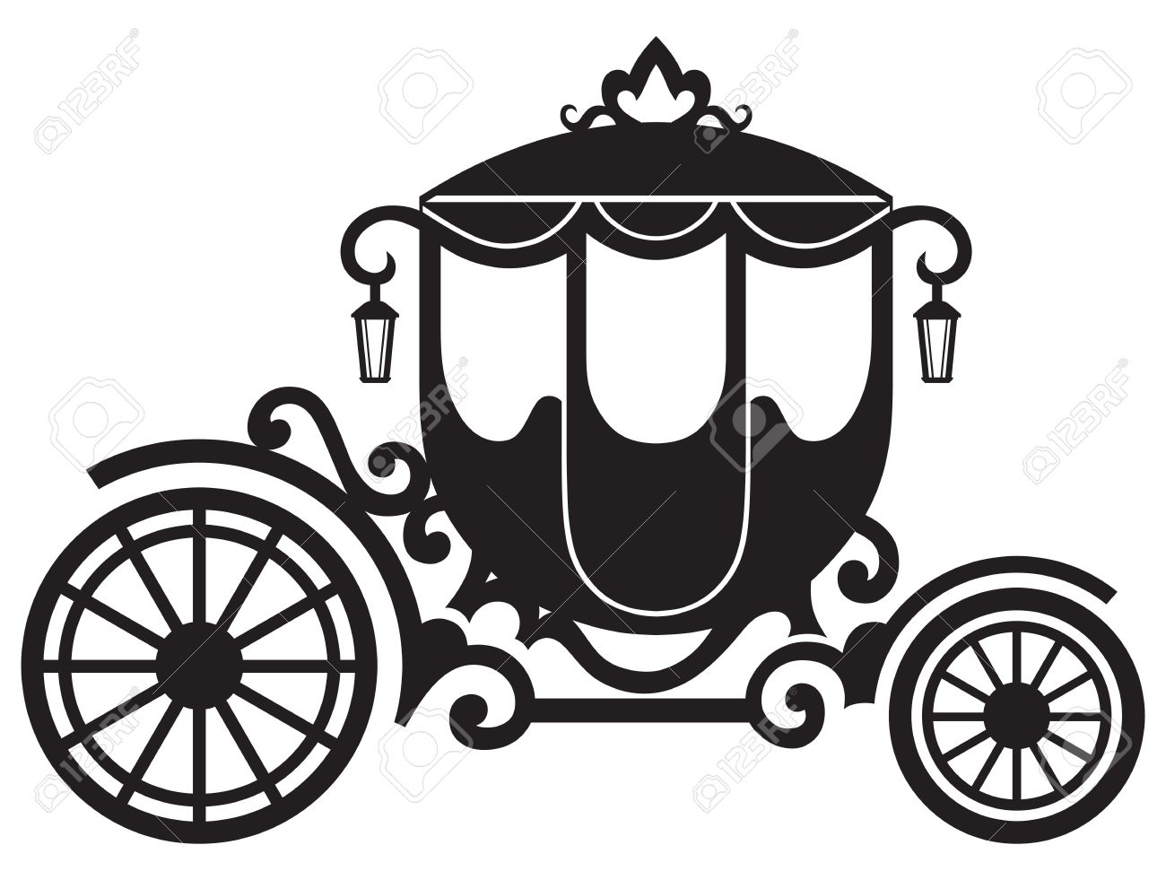 Vintage Carriage Isolated On White Background Royalty Free.