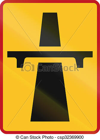 Stock Illustration of Sign marking the beginning of a temporary.
