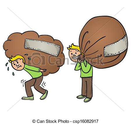 Vector Clip Art of Heavy Bag Cartoon.