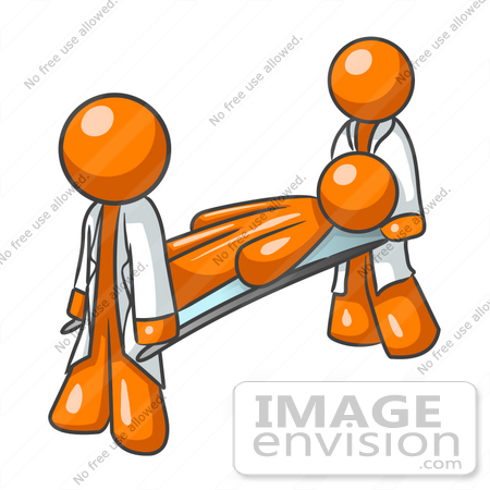 Clip Art Graphic of an Orange Guy Character Being Carried By.
