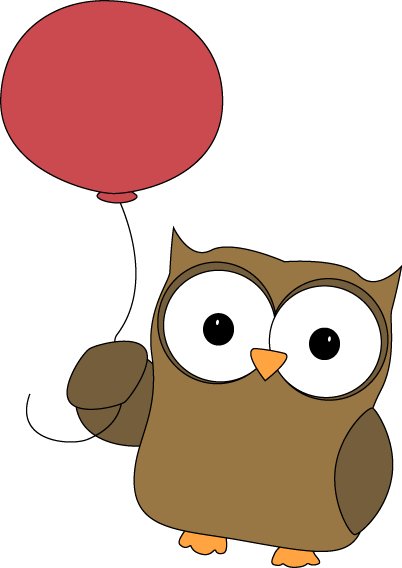 Owl Carried Away by Balloon Clip Art.