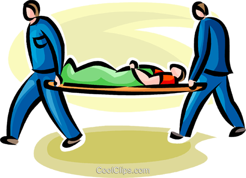 person being carried out on a stretcher Royalty Free Vector Clip.