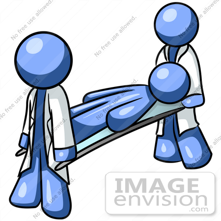 Clip Art Graphic of a Blue Guy Character Being Carried By.