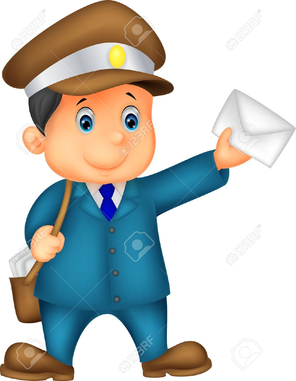 Mail carrier bag with letter clipart.