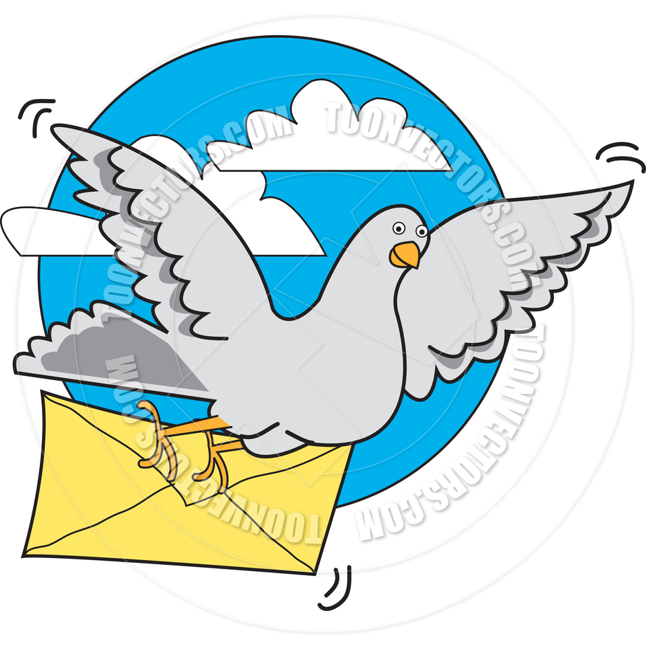 Cartoon Carrier Pigeon Vector Illustration by Clip Art Guy.