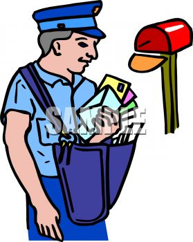 Mail carrier tools clipart.