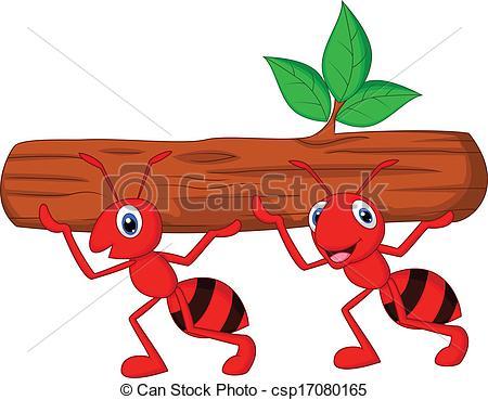 Clip Art Vector of Team of ants cartoon carries log.