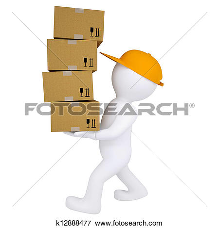 Stock Illustration of 3d man carries boxes k12888477.