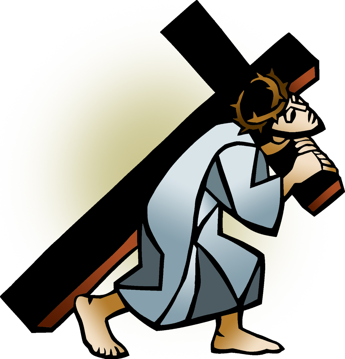 Jesus carries cross play clipart.