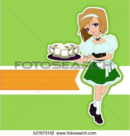Clipart of German girl waitress carries beer k21673142.