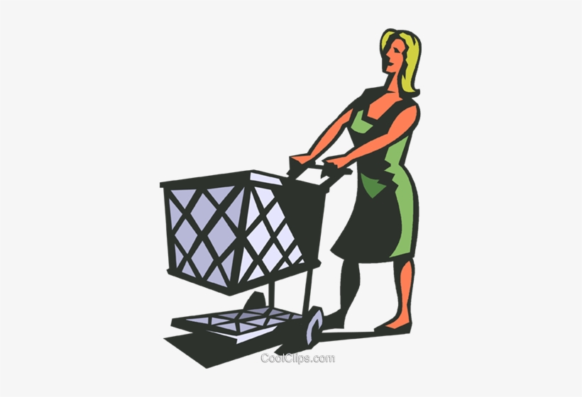 Woman With Grocery Cart Royalty Free Vector Clip Art.
