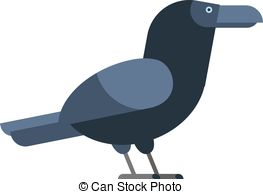Clipart Vector of Bird carrion crow.