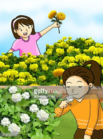 Nice Smell Flower and Little Girls Illustration stock vectors.