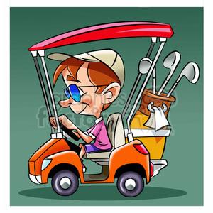 image of man driving a golf cart nino en carro de golf clipart.  Royalty.