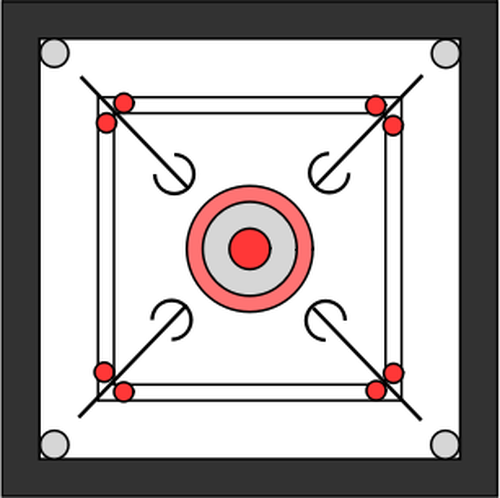 Carrom board top view vector illustration.