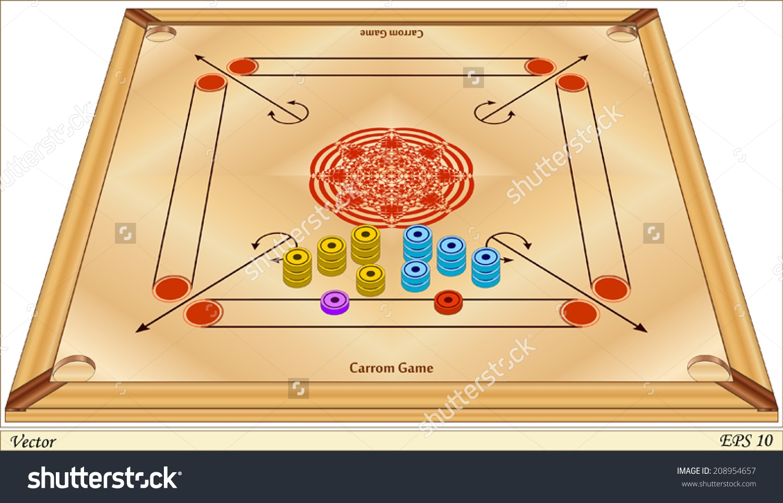 Carrom Board Game Clipart.