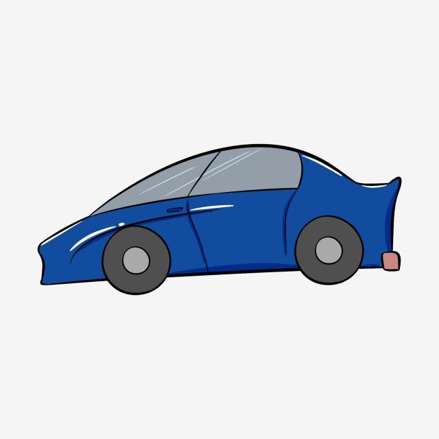 Carro Azul Carro Desenhado à Mão Carro Dos Desenhos Animados.