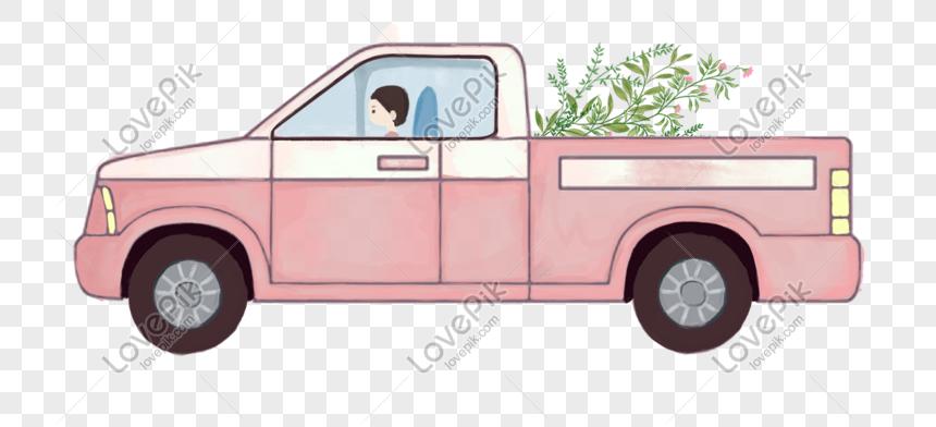 carro rosado lindo dibujado a mano de dibujos animados Imagen.
