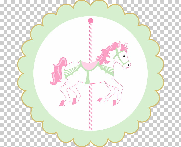 Paper Carousel Party Horse Convite, carrossel encantado PNG.