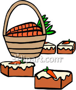 In a Basket and Slices of Carrot Cake.