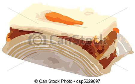 Vectors Illustration of Carrot Cake Slice vector Illustration.