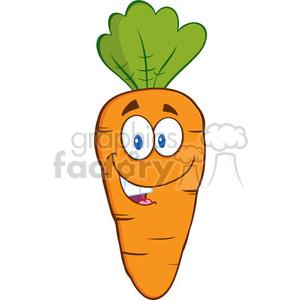 Royalty Free RF Clipart Illustration Happy Carrot Cartoon Character.