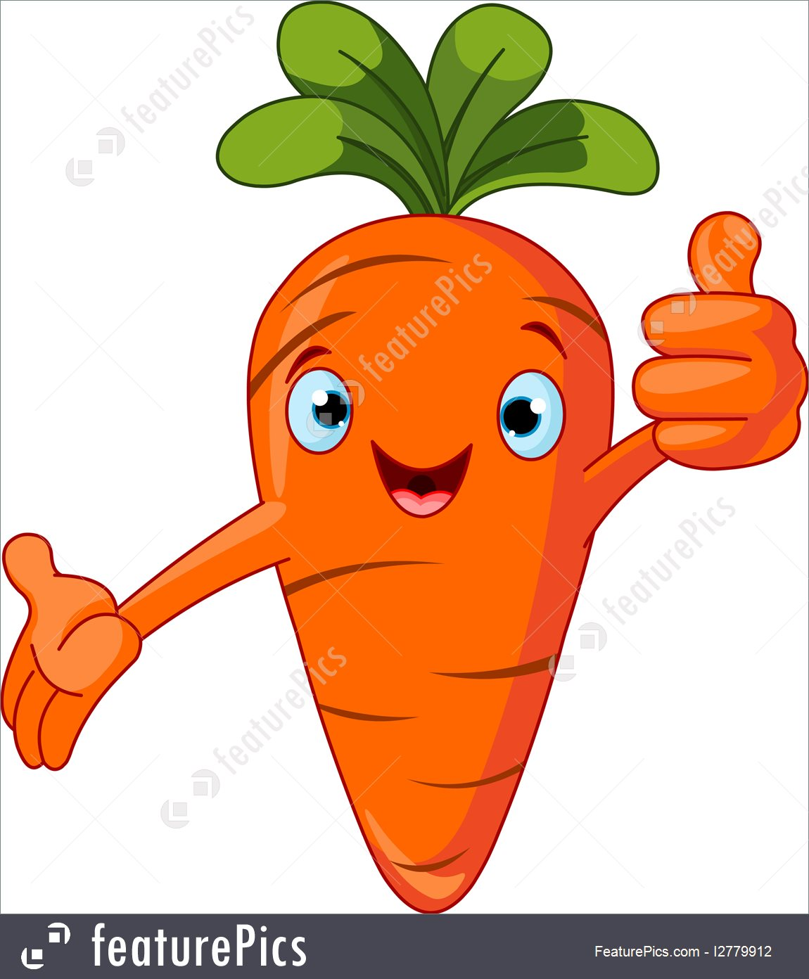 Carrot Character Giving Thumbs Up Illustration.