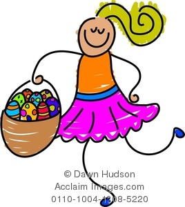 Clipart Illustration of Little Girl Carrying a Basket of Easter.
