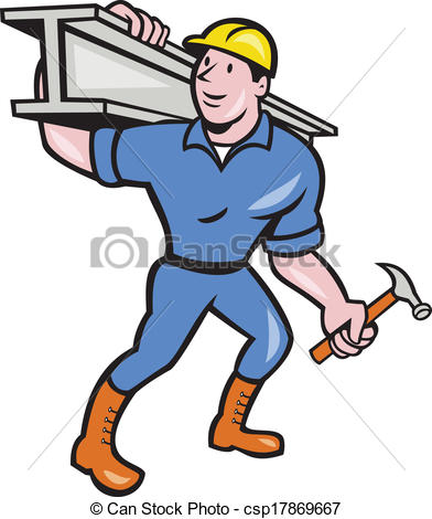 Clip Art Vector of Construction Steel Worker Carry I.