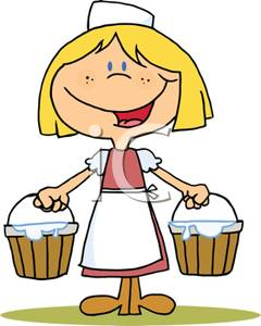Clipart girl carrying milk pail.