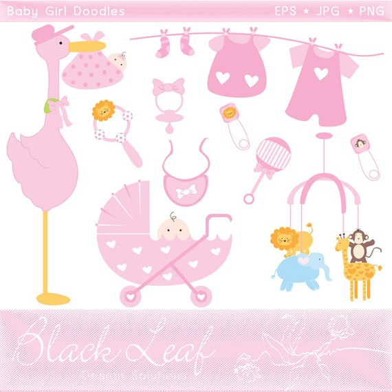 Baby Girl Doodles baby shower baby christening by blackleafdesign.