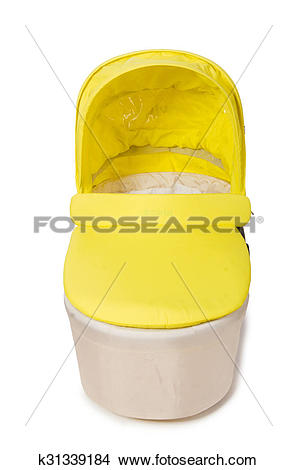 Stock Photo of Baby carrycot isolated on white k31339184.