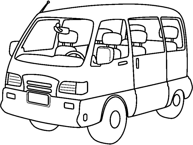Minivan clipart black and white, Minivan black and white.