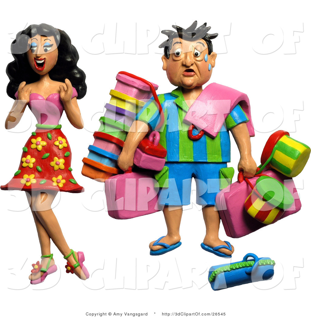 3d Clip Art of a 3d High Maintenance Woman Having Her Husband.