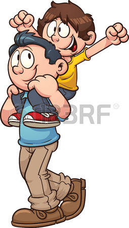 Father Carrying Son On Shoulders Vector Clip Art Illustration.