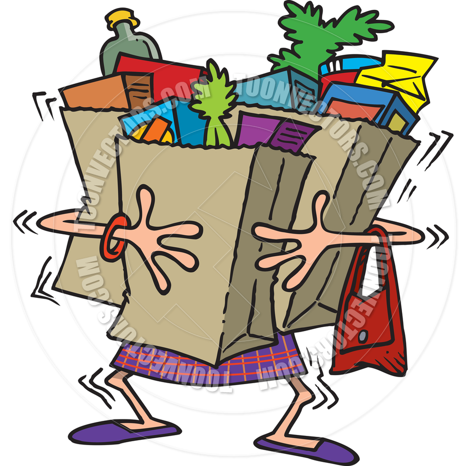 Carrying Grocery Bag Clipart.
