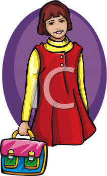 Clipart of a Young School Student Carrying a Bag.