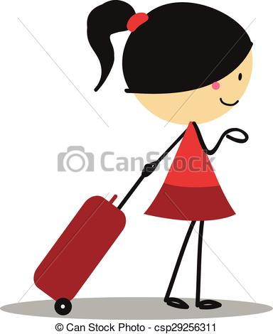 Vector Clip Art of Doodle little girl carrying a bag for Traveling.
