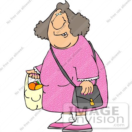 Woman Grocery Shopping, Carrying a Bag of Apples and Oranges.