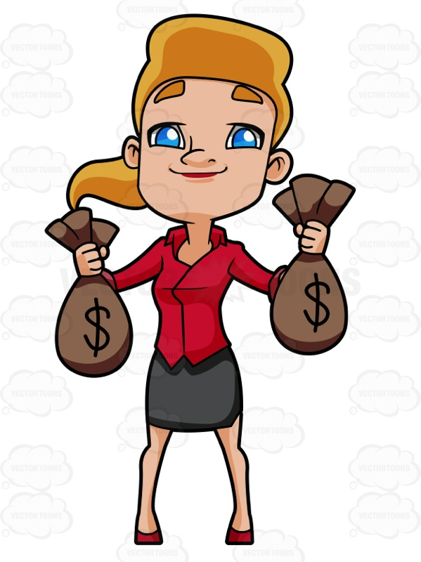 Happy Woman Carrying Bags Of Money Cartoon Clipart.