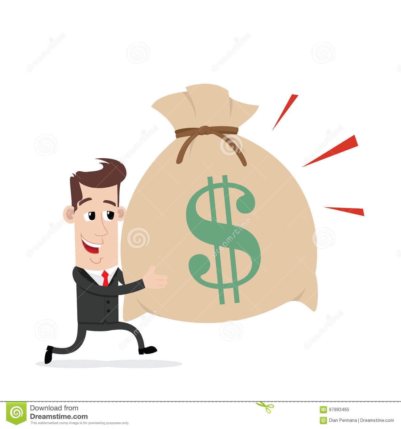 Businessman Running And Carrying Bag Of Money Stock Vector.